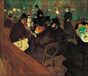 "These people have the right idea: in case of emergency, hit the bar. ""At the Moulin Rouge"" by Toulouse-Lautrec. Public domain image."