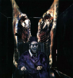 Head Surrounded by Sides of Beef, 1954 painting by Francis Bacon