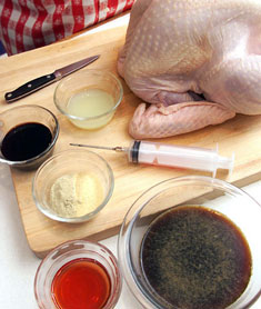 A typical turkey injector setup. Photo by Rick Browne