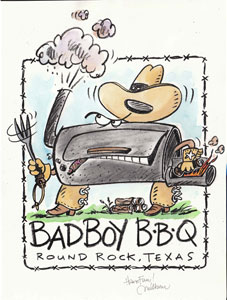 This cartoon was made by artist Milburn Taylor to commemorate the first firing up of Bad Boy post-restoration.