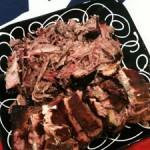 Perfect pork...pulled at top, ribs at the bottom.