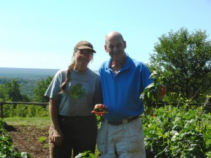 Head Gardener Pat and I Show Off Peppers at the Monticello Garden
