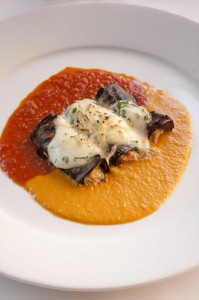 Baked Stuffed Black Beauty Eggplant with Goat Cheese, Mozzarella, Sweet Peppers and Ripe Tomatoes