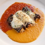 Baked Stuffed Blak Beauty Eggplant w: Goat Cheese, Mozzarella, Sweet Peppers and Ripe Tomatoes_square