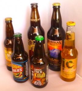 The six chile beers we tasted...