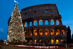 Image of Rome's coliseum famous ancient arena with Christmas tree