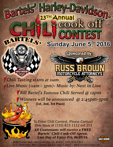 2016 bartels chili cook off