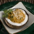 Spiced-Up-Chicken-in-Coconut-Shells-with-Mango-Cream