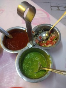 Typical salsa setup in a taqueria