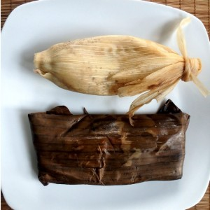 Corn and banana leaves tamal