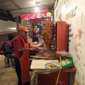 typical tacos al pastor setup