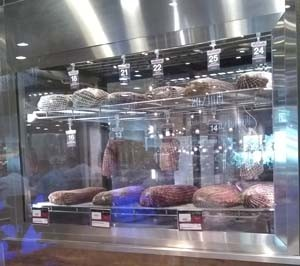 Fancy meat aging glass rooms where you can pick up 2- or 3-week aged piece of beef and have it transformed before your eyes into a steak the thickness of your choice.
