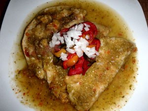 green enchiladas with roasted peppers and onions