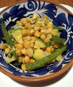 Chickpeas and squash with serranos
