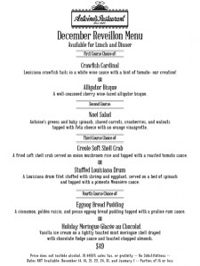 Reveillon menu from Antoines