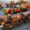 grilled chicken kabobs and vegetables