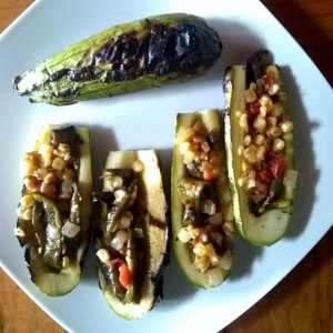 Grilled corn and poblano stuffed squash