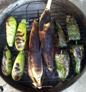 Grilling corn, squash, and poblanos