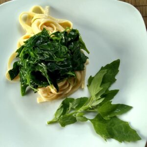 Fettuccine with Cenizo Chenopodium berlandieri