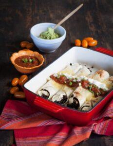 black bean and cream cheese enchiladas