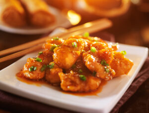 orange chicken with sundried peppers